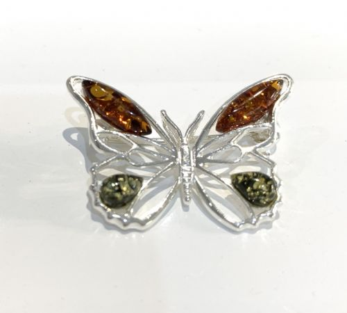 Amber Sterling Silver Butterfly Brooch